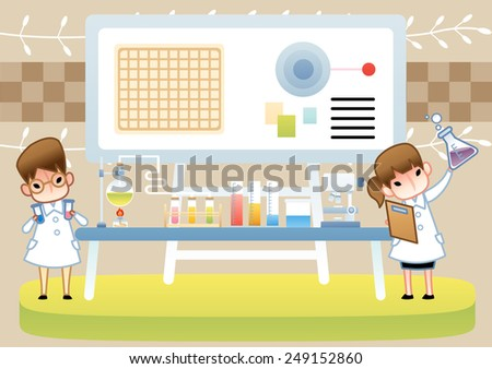 Science Room - Cute young female and male Scientist examine with laboratory equipment and colorful liquid sample in the chemical research lab on brown background : vector illustration - stock vector