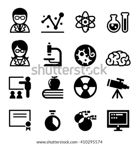 Science , Scientist, Research icon set - stock vector