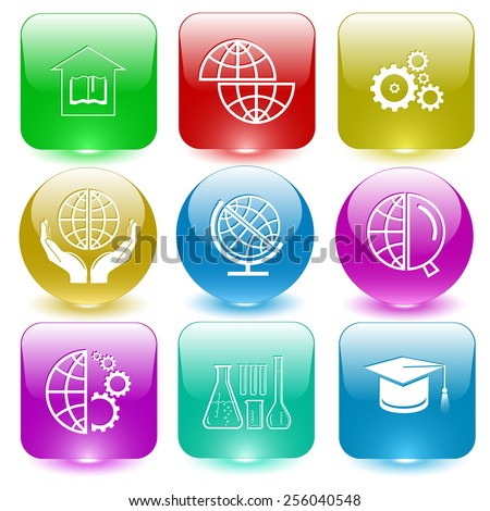 Science set. Vector set glass buttons. - stock vector