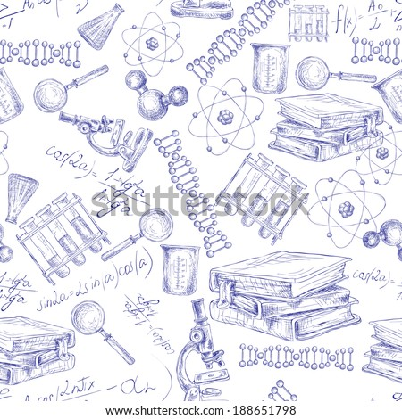 Science sketch seamless pattern with microscope flask atom dna structure vector illustration - stock vector