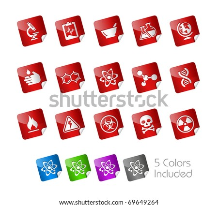 Science // Stickers Series -------It includes 5 color versions for each icon in different layers --------- - stock vector