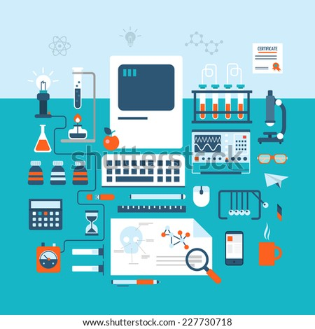 Science technology research laboratory workspace modern flat design style. Table on physics, pharmaceutics, chemistry, medical or biology experiment laboratory. Electronic device, flask tube icon set. - stock vector