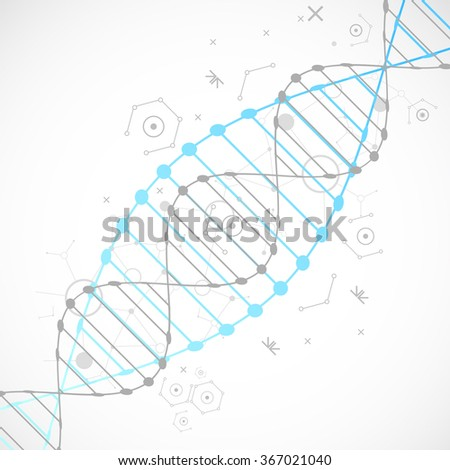 Science template, blue wallpaper or banner with a DNA molecules. Vector illustration. - stock vector