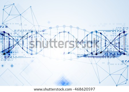 Science template, DNA molecules background. Vector illustration.