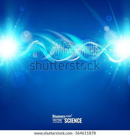 Science template for your card, blue wallpaper or banner with a DNA molecules of poligons. Wireframe mesh polygonal element. Glow light futuristic background. Vector illustration.  - stock vector