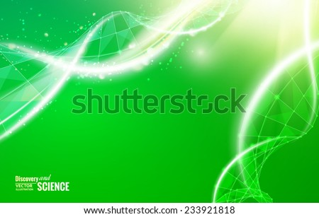 Science template for your card, wallpaper or banner with a DNA molecules of polygons. Vector illustration. - stock vector