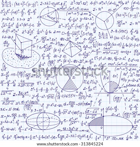 "Science vector seamless pattern with equations, formulas, plots, figures, mathematical calculations, ""handwritten on a copybook paper"""