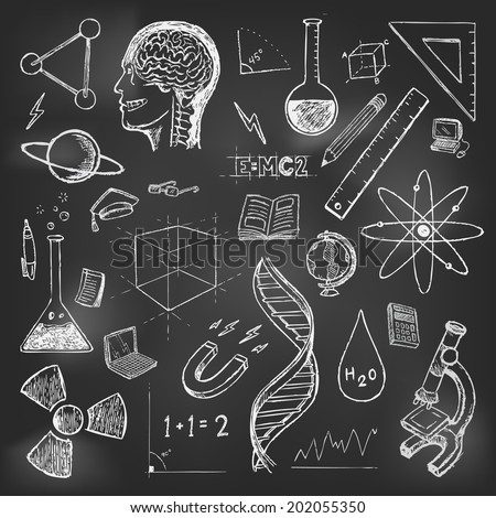 Sciences doodles icons vector on school board - stock vector