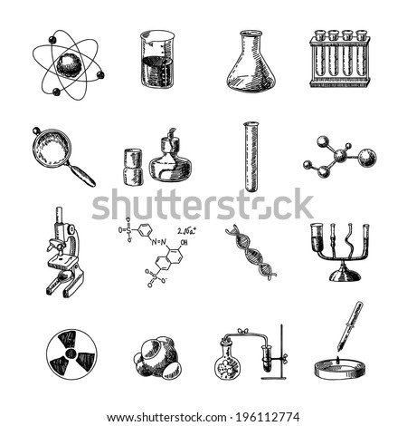 Scientific chemistry laboratory equipment of retort glass holder dna symbols doodle sketch icons set isolated vector illustration - stock vector