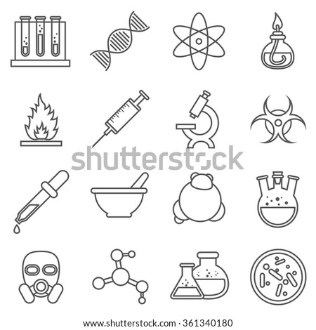 Scientific experiments, chemistry and bio technology line icons. Biology molecular, structure molecule, vector illustration - stock vector