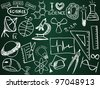Scientific icons and formulas on the school board - illustration - stock vector