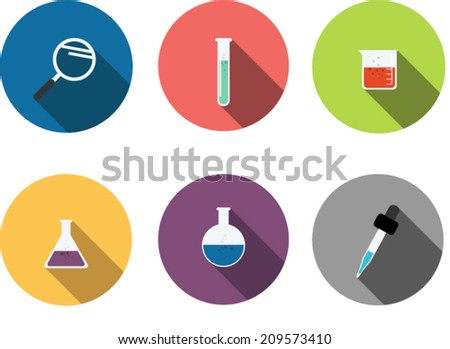 scientific Instruments,Flat style with long shadows  - stock vector