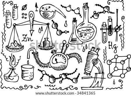 Scientific Lab. Eau-forte IV. - stock vector