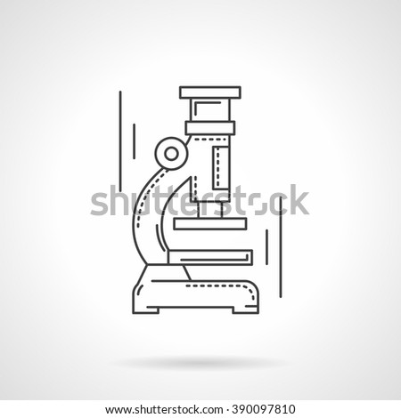 Scientific laboratory equipment and tools. Microscope. Biology research. Science and education. Flat line style vector icon. Single design element for website, business. - stock vector