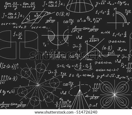 Scientific vector seamless pattern with handwritten math and physical formulas, figures, plots, problem solutions and calculations, chalk on grey board effect