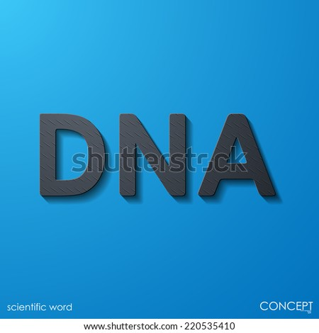 scientific word DNA, layers of metal and flat surfaces - stock vector