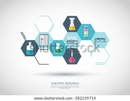 Scientificconcept. Chemical banner, background, cover. Chemical icons. Flat design. vector illustration - stock vector