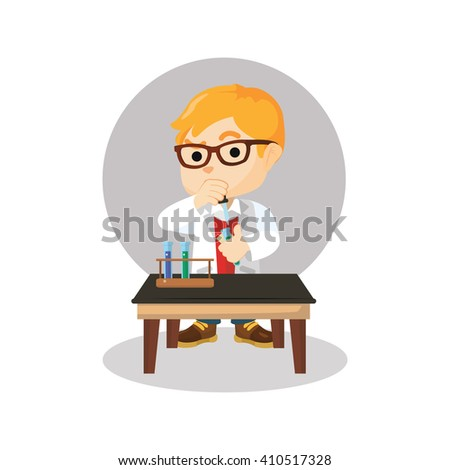 Scientist boy combining chemical - stock vector