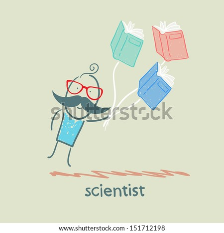 scientist flies with books