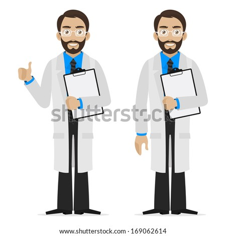 Scientist holds file - stock vector