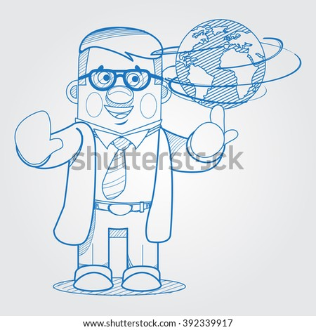 Scientist man showing a globe. Outline drawing in cartoon style.