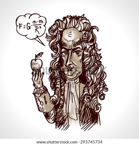Scientist physicist Isaac Newton with an apple. Vector caricature. Digital engraving - stock vector