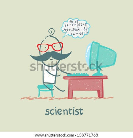 scientist sitting at the computer and think about numbers - stock vector