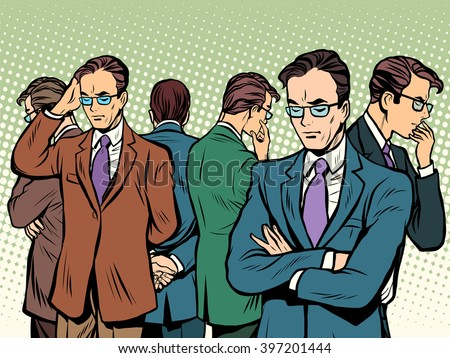 Scientist thinks about solving the problem brainstorming - stock vector