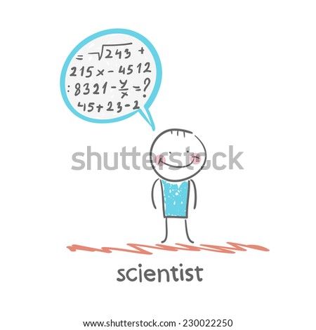 scientist thinks about the formula - stock vector