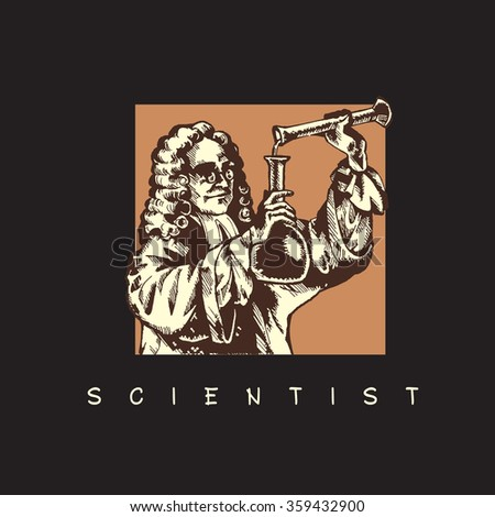 Scientist with test tube. Vector image on black background.