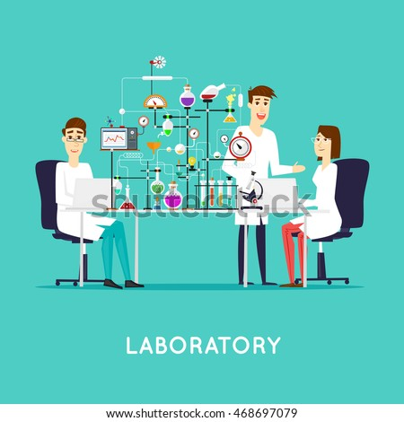scientist working laboratory room workspace workplace stock vector rh shutterstock com Laboratory Design Color medical laboratory logo vector free download