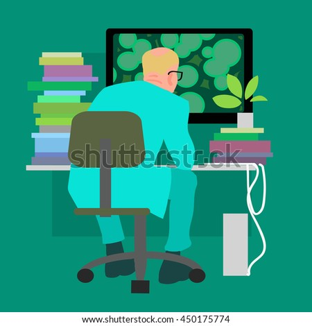 Scientist working on the computer. Biologist in the laboratory. A lot of books on the table. Cartoon flat vector illustration. - stock vector