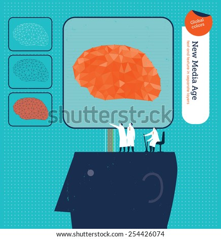 Scientists controlling an electronic brain in a head. Vector illustration Eps10 file. Global colors. Text and Texture in separate layers. - stock vector