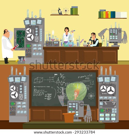 Scientists in lab concept with males and females making research. Robot conducts lecture. Vector illustration in a flat style. - stock vector