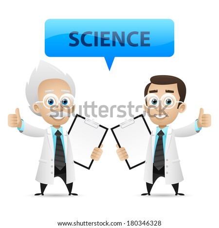 Scientists showing thumb up - stock vector