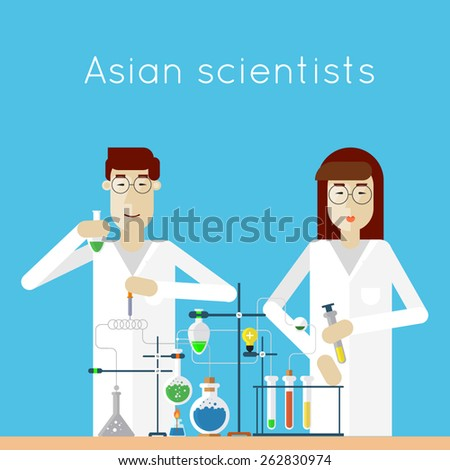 Scientists woman and man in laboratory are holding flasks and making research. Asian scientists. Chemistry. Flat vector illustration. - stock vector