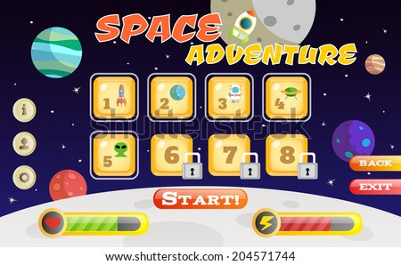 Scifi space adventure game user interface template vector illustration - stock vector