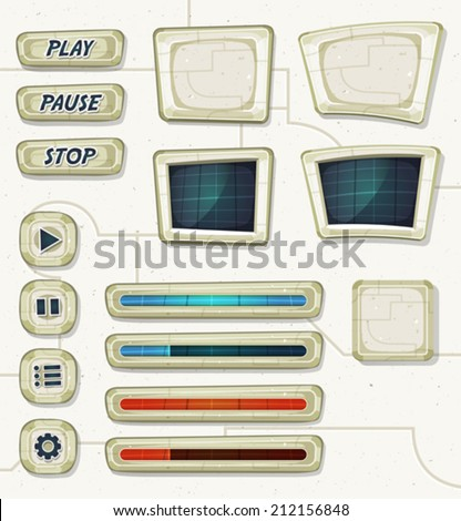 Scifi Space Icons For Ui Game/ Illustration of a set of various cartoon design ui game space and scifi elements including banners, signs, buttons, load bar and app icon - stock vector