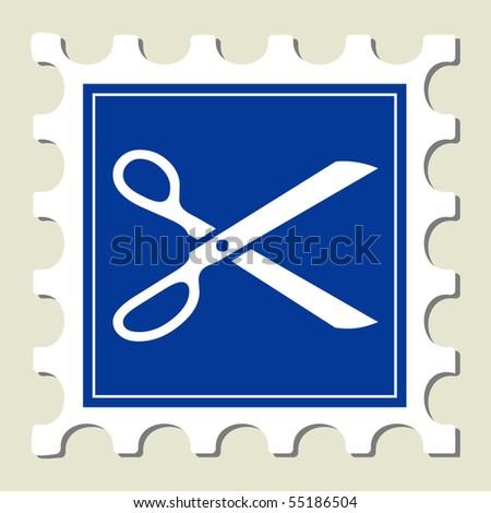 Scissor Sign Stamp - stock vector