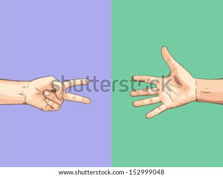 Scissor VS Paper - stock vector