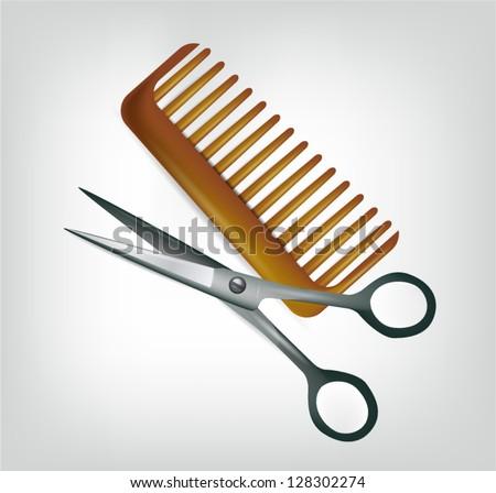 Scissors and comb - stock vector