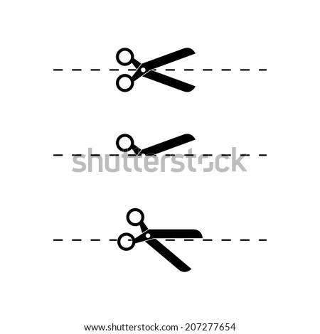 Scissors and dotted line. Vector - stock vector