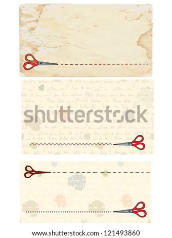 Scissors banners and coupons with old paper backgrounds