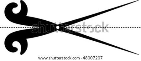 scissors cut lines - stock vector