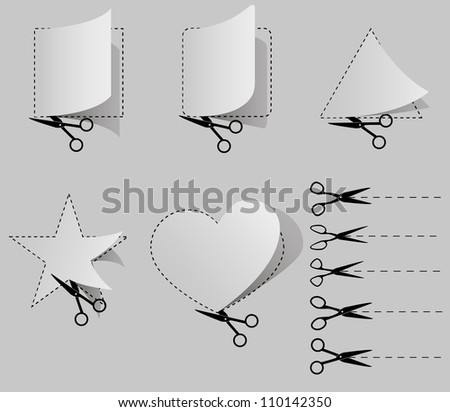Scissors cut paper shapes square, triangle, heart, circle, star - stock vector