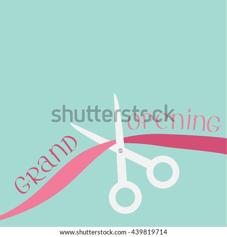 Scissors cut the ribbon. Grand opening celebration. Business beginnings event. Launch startup concept. Flat design style. Vector illustration. - stock vector