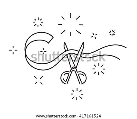 Scissors cut the ribbon line icon opening ceremony symbol vector illustration - stock vector