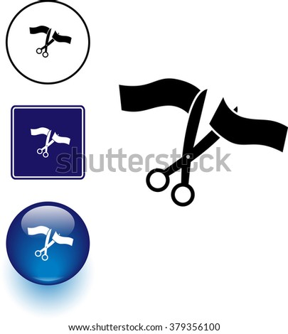 scissors cutting a ceremonial ribbon symbol sign and button - stock vector