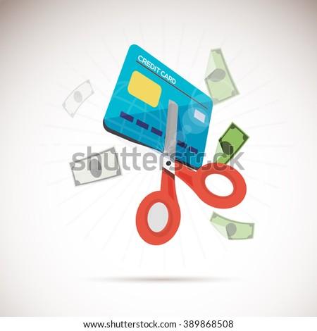 scissors cutting credit card.  - vector illustration - stock vector