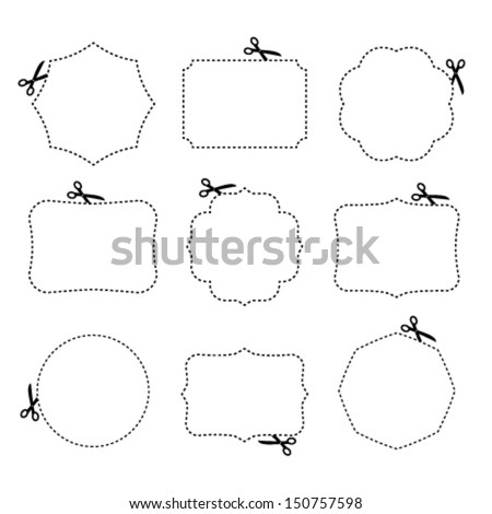 Scissors cutting different frames. Vector illustration. - stock vector